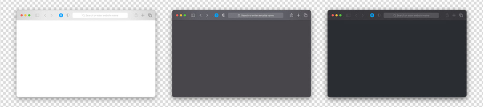 Browser window vector set. Isolated computer browser template on alpha background. Blank browser page mockup. For laptop, computer, monitor, tablet device. White, gray, black design. Realistic UI elem