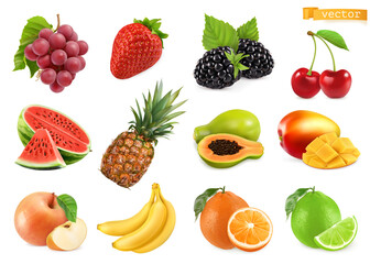 Grapes, strawberry, blackberry, cherry, watermelon, pineapple, papaya, mango, apple, banana, orange, lime. 3d realistic vector objects