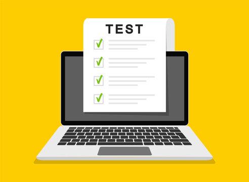Online exam, checklist and online testing on laptop screen. Online surveys form on the computer screen. Flat design. Vector illustration.