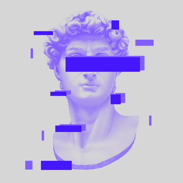 Vector Michelangelo's David bust. Aesthetic contemporary art collage. Vaporwave style poster concept.