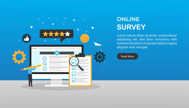 online survey concept. questionnaire that the target audience to create as Web forms with a database to store the answers and statistical software to provide analytics. landing page illustration