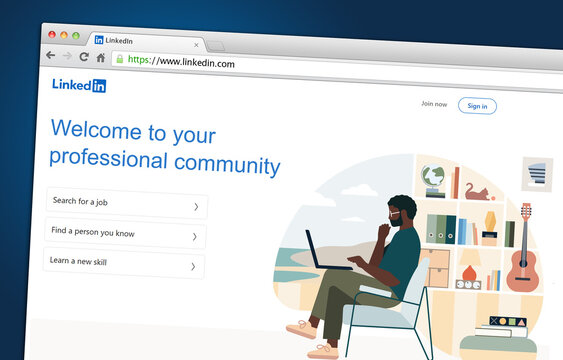 A business and employment-oriented online service LinkedIn displayed on a web browser.