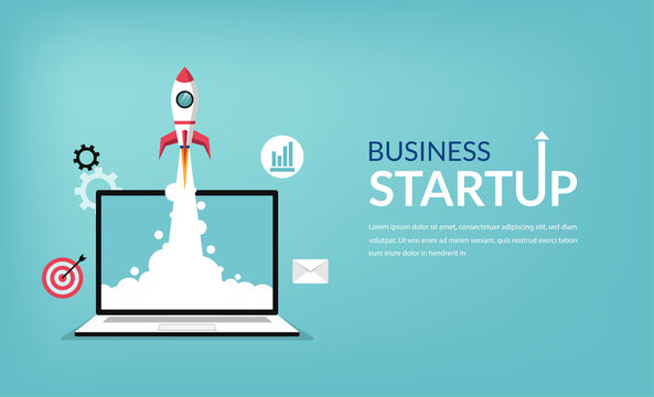 Business startup launching products with rocket symbol. Start up concept vector illustration