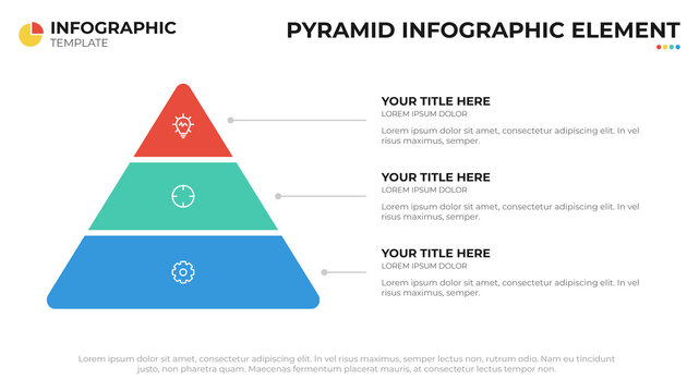 Pyramid digram with 3 list, infographic element, presentation layout template