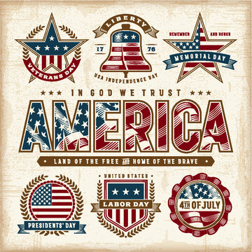 Vintage usa patriotic holidays labels set vector image