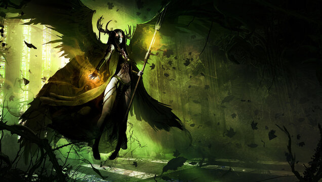 beautiful young girl, she is a black angel of death with a magic staff in her hands, barefoot hovering in the middle of an abandoned Gothic temple overgrown with thorny plants. Her eyes glow.