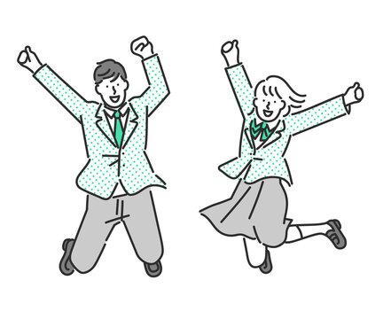 ジャンプをする元気な男子学生と女子学生の全身イラスト素材