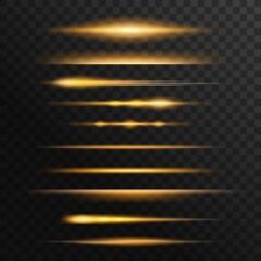 Fototapeta Fiery light flares, glowing sunbeams or rays effect set. Energy burst, flying comet or burning meteorite tale, sunset shine edge 3d realistic vector. Magical shine, fantasy glow lines design element