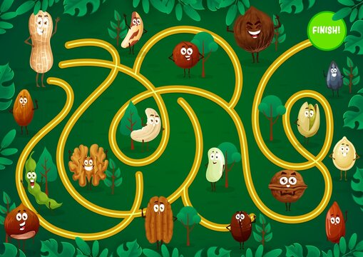 Kids game maze with nuts cartoon characters. Child labyrinth with smiling peanut, almond and coconut, walnut, pumpkin and sunflower seed vector. Kindergarten game, exercise with finding path in garden