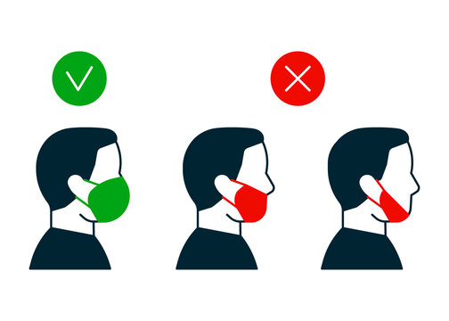 Right and wrong way to wear face mask, profile man icon. Correct and mistakes use wearing mask. Face mask for protection safe health. Vector illustration