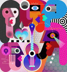 Five people and one guitar modern abstract art graphic illustration. Woman wearing headphones.