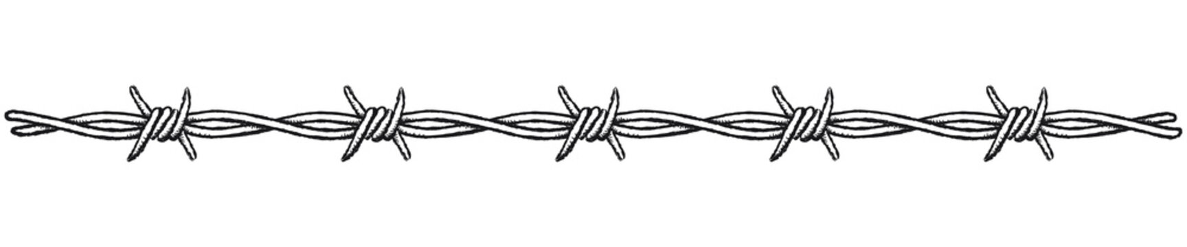 Barbed wire border, horizontal. Clip-art illustration of a barbed wire border on a white background.