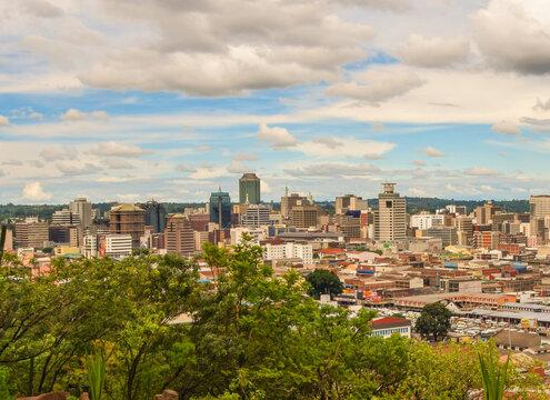 Panoramic view of Harare city centre, Zimbabwe.