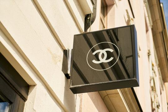 BERLIN, July 2020: Chanel brand logo at fashion store
