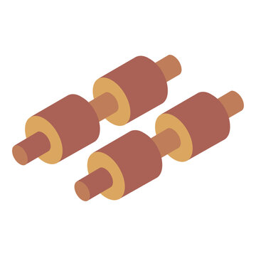 Barbells icon of isometric style, fitness equipment