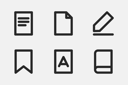 Document icon line design. Vector book sign, write and read on white paper symbol.