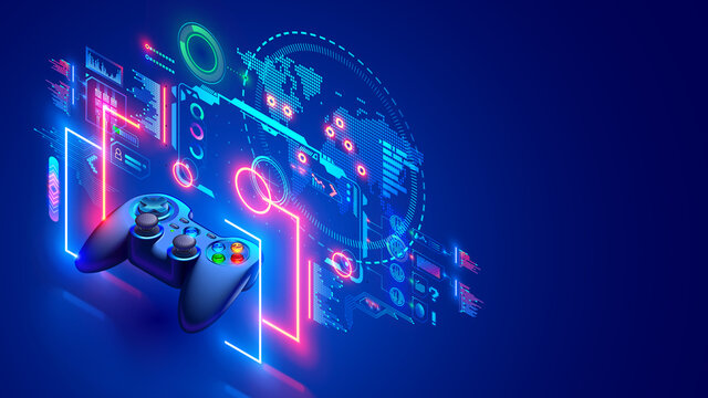 Online video games concept banner. E sports in internet. Computer network games. Entertainment technology. Gamepad hovered near holographic interface and world virtual map. Web gaming communication.