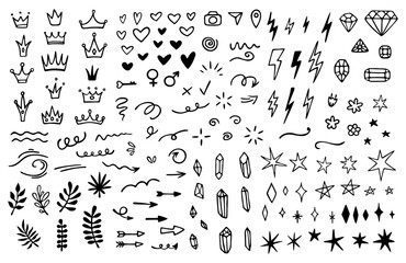 Vector set of different crowns, hearts, stars, crystals, sparkles, arrows, lightnings, diamonds, signs and symbols. Hand drawn, doodle elements isolated on white background.