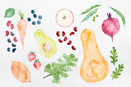 Plant based food beans, vegetables, fruit