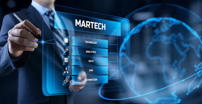 Martech marketing technology concept on virtual screen interface.