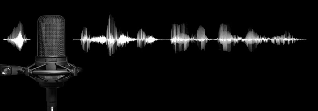 Recording studio microphone on black background with white audio waveform, broadcast production banner with copy space