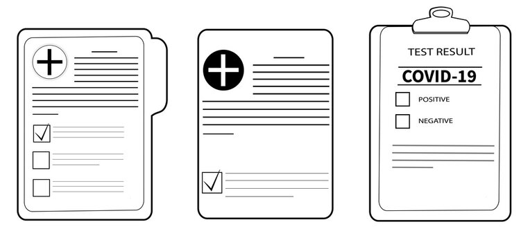 Vector set of covid 19 test icons, medical opinion, checklist. The concept of health insurance, health care. Diagnostic results. Black symbols, graphic icon template with thin line.