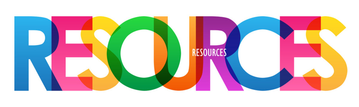 RESOURCES colorful vector typography banner isolated on white background