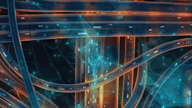 Ai Cars Logistic Autonomous Delivery Traffic Monitoring IoT GPS Satellite Connection 5G Smart City Traffic Junction Highway Connection Satellites Triangulation Of Transportation Data