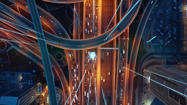 Intelligent Vehicles Cars Communicating Ai Logistic Autonomous Delivery Vehicles IoT GPS Tracking Satellite 5G Smart Roads Traffic Road Junction Interchange Motorway Triangulation Of Traffic Data