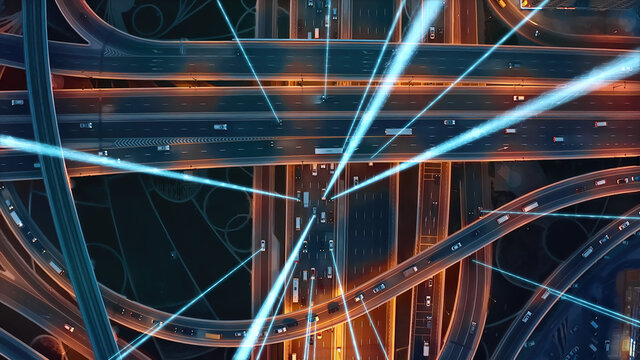 Autonomous Self Driving Cars Moving Through City Surveillance System Artificial Intelligence Scans Cars GPS Tracking Movement 5G Connection Satellite IoT Network