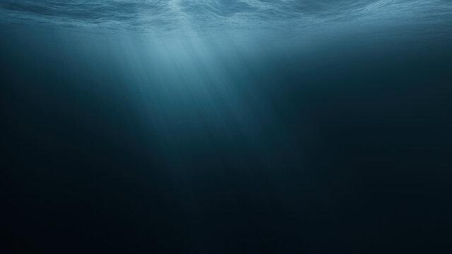 Light Rays In Dark Underwater Ocean Abyss Background Darkness Dread Mystery Magical Deep Ocean Waves Stormy Water Sun Light Beams Illuminating Ocean Depths