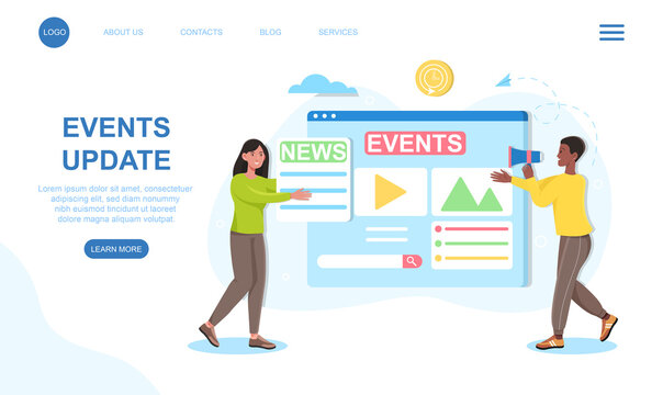 Male and female characters are updating news events together. Young editors are updating live news website together. Website, web page, landing page template. Flat cartoon vector illustration