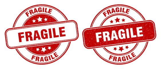 fragile stamp. fragile label. round grunge sign