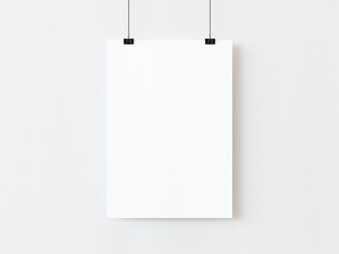 One blank vertical rectangle poster template hanging on thread with paper clips on white background. 3D illustration