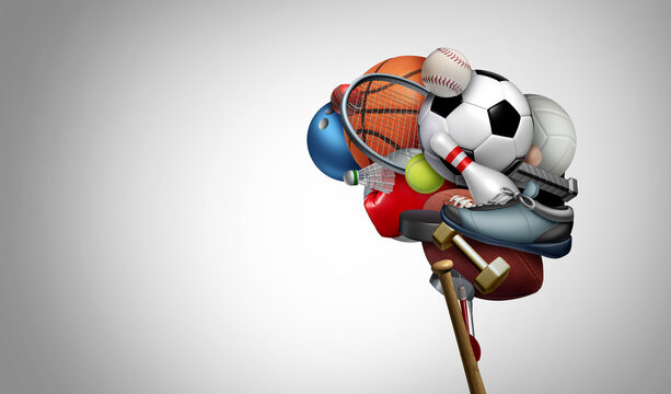 Thinking sports and sport brain psychology concept as a group of exercise equipment shaped as a human organ for psychological mental health as exercising to improve cognitive fitness
