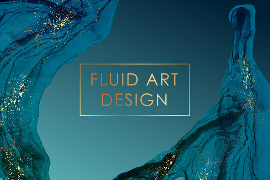 Modern abstract luxury background design or card template for birthday greeting or wallpaper or poster with blue watercolor waves or fluid art in alcohol ink style with golden splashes.