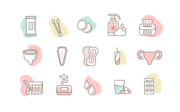 Woman Menstruation Cycle Images. Gynecological hygiene Products. Pad, Menstrual Cup, Tampons. Feminine Intimate Hygiene for Period. Flat Line Cartoon Vector Illustration and Icons Set.