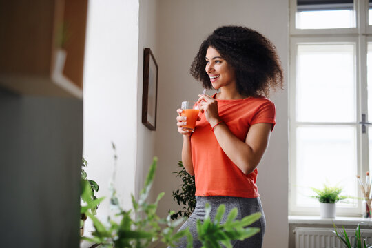 Young woman with drink indoors at home, doing exercise. Sport concept.