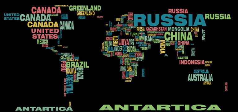 world map illustration dark theme