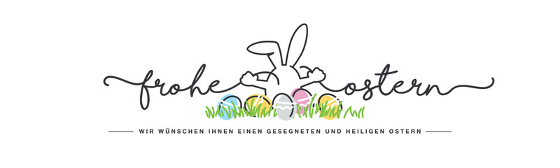 Obraz Happy Easter we wish you a holy and blessed Easter German language handwritten line design typography bunny connects Happy and Easter lettering white greeting card background with colorful eggs in gra - fototapety do salonu