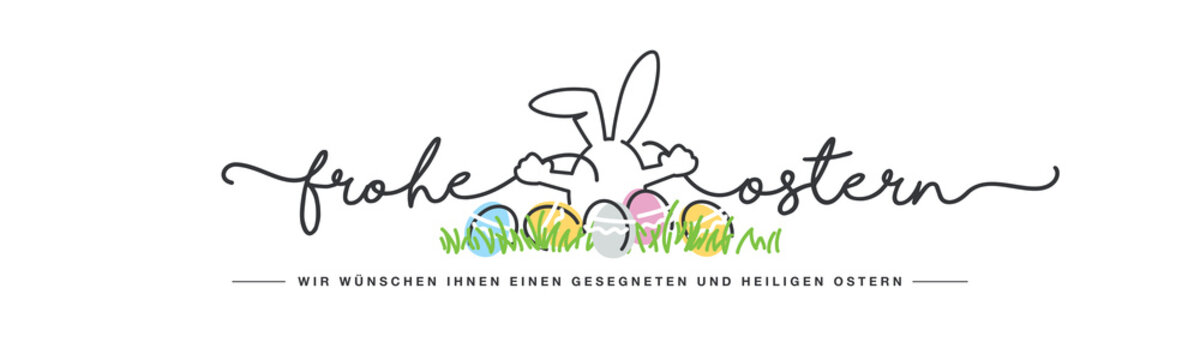 Happy Easter we wish you a holy and blessed Easter German language handwritten line design typography bunny connects Happy and Easter lettering white greeting card background with colorful eggs in gra