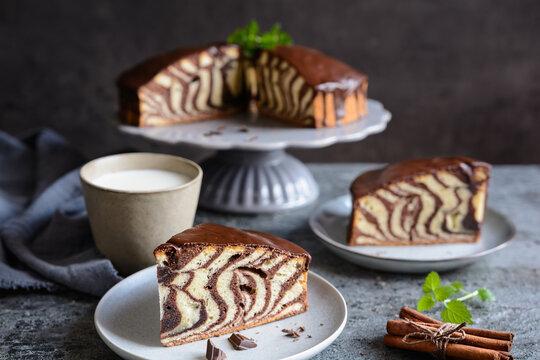 Zebra marble cake with chocolate glaze