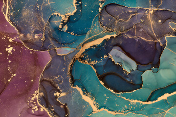 Currents of translucent hues, snaking metallic swirls, and foamy sprays of color shape the landscape of these free-flowing textures. Natural luxury abstract fluid art painting in alcohol ink technique