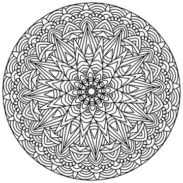 mandala drawn with linear ornaments in folk style for coloring on a white background, vector, coloring book pages