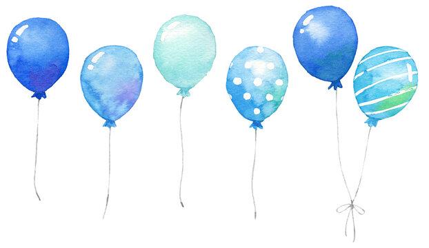 青・水色のたくさんの風船 水彩画