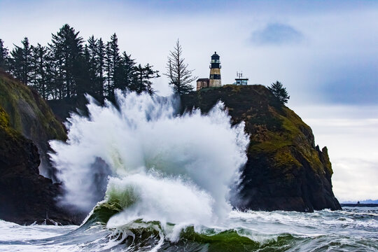 Large Wave Crashes Onshore at Cape Disappointment Lighthouse