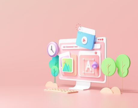 web UI-UX design, web development concept. web building and SEO optimization marketing. 3d render illustration