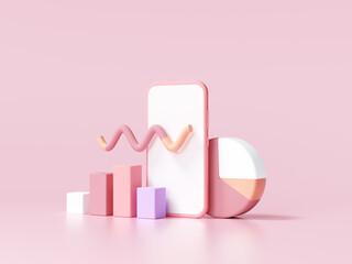 Fototapeta 3D SEO Optimization, stock trading, data analysis, web analytics, and SEO marketing concept. 3d render illustration obraz