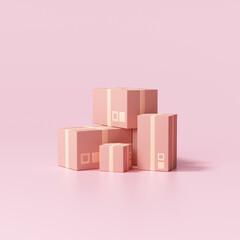 Fototapeta 3d parcels cardboard box on pink background, packaging. 3d render illustration