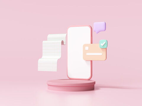 Online transaction via smartphone, sent and receive coins, money online, exchange service and online payment concept. 3d render illustration.